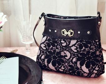 Black evening bag, black lace leather crossbody, fashion bow evening purse