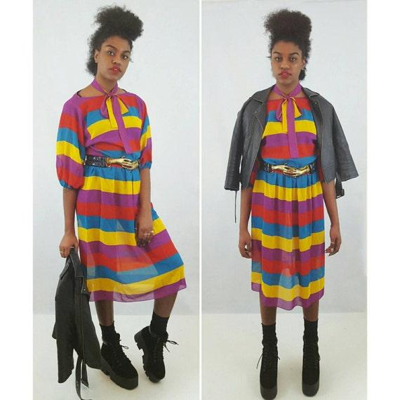 Vintage 80's Sheer Stripe Dress - Cute Kitschy BOHO Small Medium - Yellow Red Purple Blue Striped Longsleeve 1980s Midi Knee Length Dress