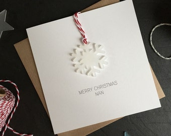 Merry Christmas Nan // Christmas Card with Frosted Perspex Snowflake Tree Decoration