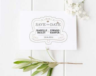 Elsie // Rustic Wedding Stationery // Save the Date // Black White and Beige // DIY Printable File // Digital PDF File
