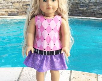American Girl Doll Dress, Doll Dress, 18 Inch Doll Dress, Pink and Purple Dress
