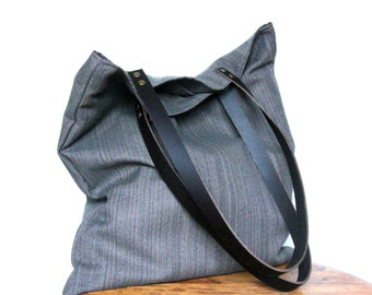 Tote bag or shopping bag in upholstery colour taupe handles riveted leather