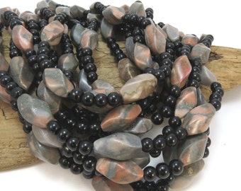 Black Obsidian Beads and Brown Zebra Stone, Natural 5mm Round and Twisted Oval Beads, 15 inch Strand, Beading Supplies, Item 851pm