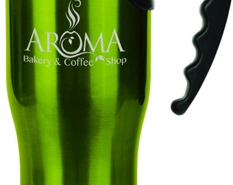 Personalized  Green Travel Mug with Handle 14 oz.