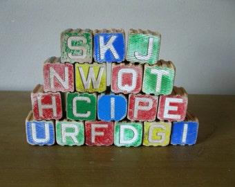 SET of 18 Antique wood blocks - alphabet blocks - baby blocks - children's blocks - picture blocks - number blocks -childrens toy -1950s
