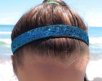 Teal Headband Adult - Teal Glitter Headband Hair Accessories for Women - Girls Headbands for Women - Non Slip Headband Girl Gifts