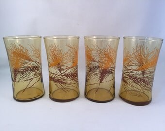 Set of 4 - Retro Amber Golden Wheat Glasses 1970's, 10-12 oz. by Libbey