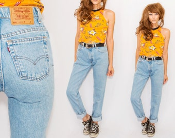 Vintage High Waisted Levi's •Levis 550 •USA made • Tapered Leg • small • Denim  Jeans /  grunge /