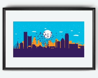 Boston Skyline print, Boston art, Boston print, Boston poster, Sharknado inspired art, Sharknado print, Sharknado art, Sharknado poster, pop