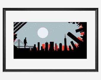 San Francisco Skyline print, San Francisco print, poster, inception movie inspired print, Inception art, Inception print, Inception poster