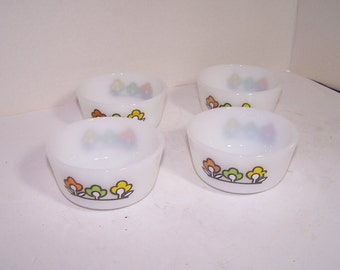 4 Vintage Fire King Custard Cups