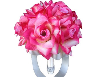 """8"""" Bouquet - Shades of Pink and Ivory Rose Bouquet"""