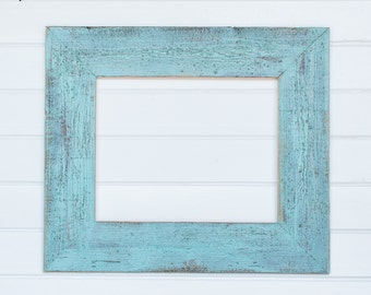 "16x20 4"" Painted Barnwood Frame- Blue, Green, Coral, White"