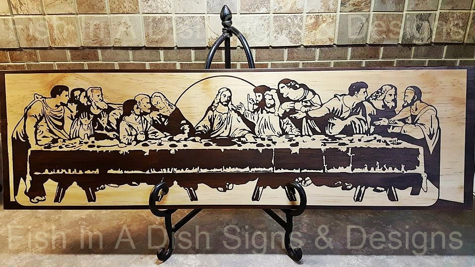 the last supper wall art stained wooden plaque painted. Black Bedroom Furniture Sets. Home Design Ideas