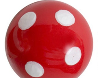 Hand Painted Red & White Polka Dot Ceramic Drawer Cabinet Knobs