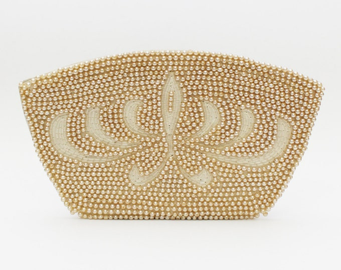 30s Beaded Clutch - Vintage 1930s Ivory White Evening Bag