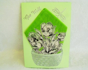 NEW - Get Well Greeting Card, Get Well Handkerchief Card, Handmade Greeting Card