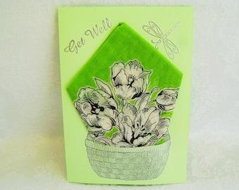 Get Well Greeting Card, Get Well Handkerchief Card, Handmade Greeting Card