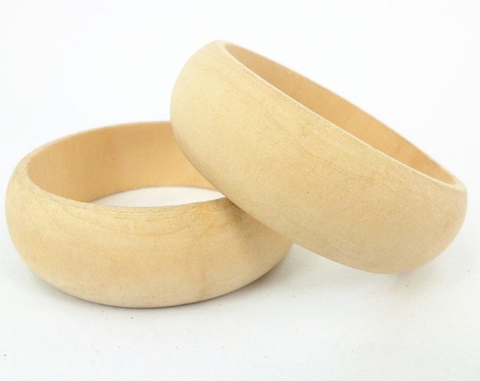 Wooden Bangles Vintage Unfinished Large One Piece Bracelet 2.5 cm
