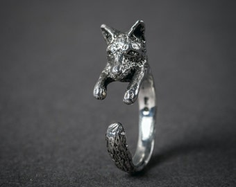 SALE Sterling Fox Wrap Ring. Adjustable Fox Ring. Silver Fox Ring. Animal Ring. Woodland Jewelry. Boho Ring
