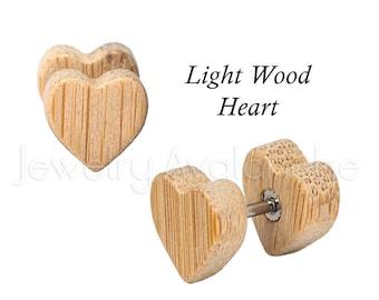 Fake Wood Plugs, Light Wood HEART Fake Plugs, Screw-on 16G Surgical Steel Cheater Plugs, His & Hers, Organic Plugs,Body Jewelry,
