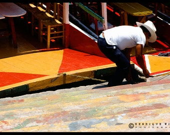 Fine Art Print, Lanchero in Xochimilco , Minimalistic Decor, Street Photography, Color.