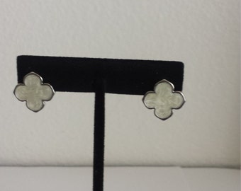 VERY HIGH QUALITY  Clover Stud Earrings,White clover,gift her for,four leaf clover,Mother's day gift