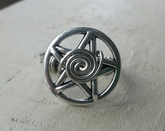 Silver Pentagram Wire Wrapped Ring.