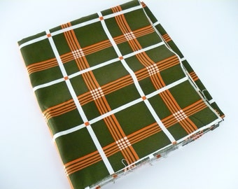 "Vintage 1970s Fabric Yardage, Cotton, Deep Olive Green with White and Bright Orange Plaid, 45 x 136"" (3yd 28"")  or 114 x 345cm  (2.0 metres)"