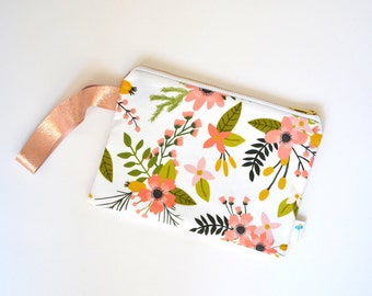 Spring Clutch Purse, White Floral Wristlet Bridal Clutch Purse Rose Gold Leather Coral Bridesmaid Gift Wedding Clutch Pink Floral Wrist Bag