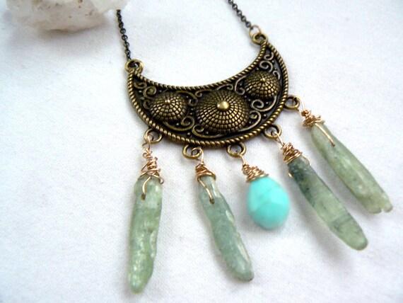 Moon raw kyanite opal necklace- Green rough kyanite gemstone wire wrapped- Boho pendant- Women blue opal necklace-Antique brass pendant