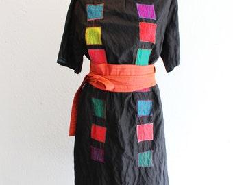 Linen dress, geometric dress, designer dress, black dress, little black dress