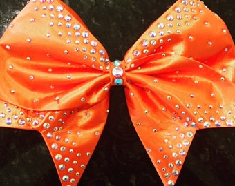 Orange satin bow with AB crystal rhinestones