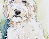 Deposit Listing for Karly - 11 x 14 Goldendoodle mixed media sketch