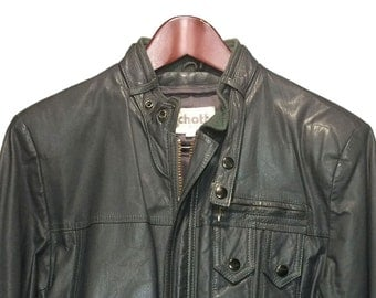 Schott Gray Leather Jacket Cafe Racer Men's Size 38, Vintage Motorcycle Riding Jacket