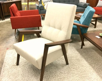 NEW! Custom American-made Mid Century Modern Style Wood Frame Lounge Chair Danish Club Vintage Hand-crafted