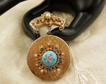 Vintage Art (Arthur Pepper)  Rhinestone and Faux Seed Pearl and Blue and Clear Rhinestone Hanging Brooch Locket