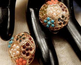 Beautiful D'Orlan Faux Turqouise and Coral Seed Bead and Multi-Coloured Rhinstone Earrings (Pierced)