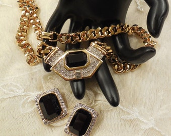 Vintage Carolee Chunky Black Stone Pave Crystal Necklace & Earrings