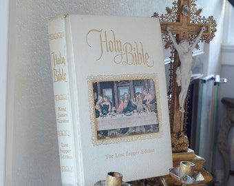 Vintage Family Bible, White Leather Holy Bible, King James Version, Last Supper Edition, De Vore & Sons Witchita