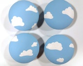 Cloud and Sky Knob, Blue Sky with Clouds Drawer Knob, Cloudy Drawer Pull, Hand Painted Blue Sky Nursery Decor