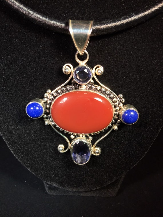 Classic Carnelian, Amethyst and Lapis Lazuli 925 Silver Pendant. 2 & 1/2 inches long, from top of bail to end.