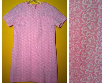 Vintage '60s pink and white Shift Dress, Size L