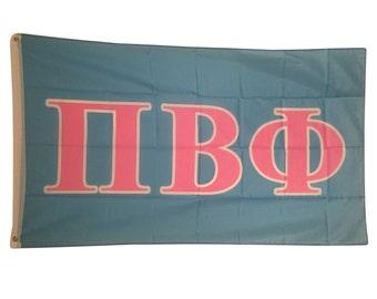 Pi Beta Phi Light Blue/Light Pink Letter Flag 3' x 5'