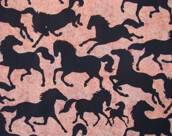 Horse Fabric 1 yard Black Running Horses Fabric by the yard