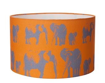 Elephant orange lampshade - elephant nursery - kids lampshade - nursery decor - newborn gift - new baby gift - baby shower - childrens shade