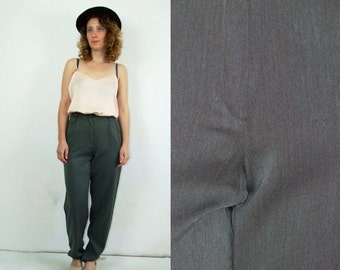 ON SALE 80's vintage women's high waisted grey pants