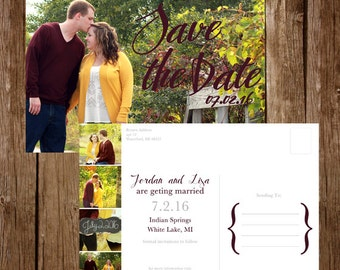 Photo Collage Save the Date Post Card