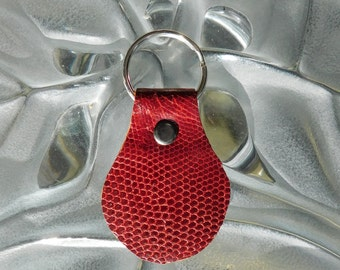 Red Lizard Leather Key Fob