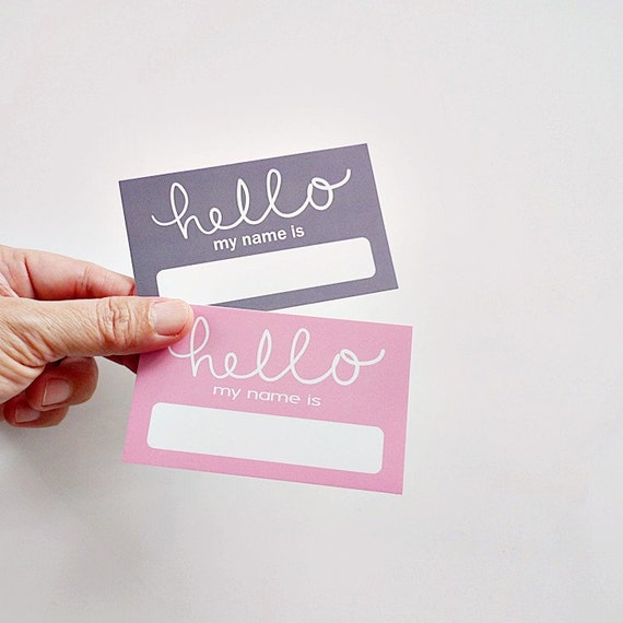 Pink U0026 Grey Baby Shower Name Tags, Hello Name Sticker, Wedding Name Labels,  Events Name Tag From PaperFabricStudio On Etsy Studio